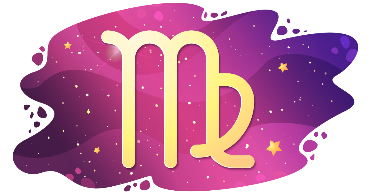 Sign of the zodiac of Virgo, astrological horoscope, predictions for the new year, symbol on starry magic sky background. Vector illustration