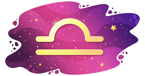 Sign of the zodiac of Libra, astrological horoscope, predictions for the new year, symbol on starry magic sky background. Vector illustration