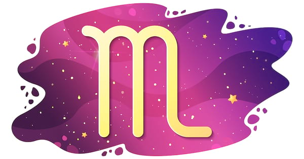 Sign of the zodiac of Scorpio, astrological horoscope, predictions for the new year, symbol on starry magic sky background. Vector illustration