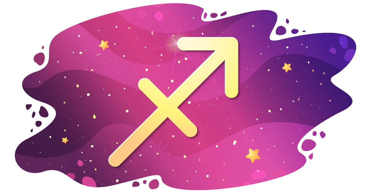 Sign of the zodiac of Sagittarius, astrological horoscope, predictions for the new year, symbol on starry magic sky background. Vector illustration
