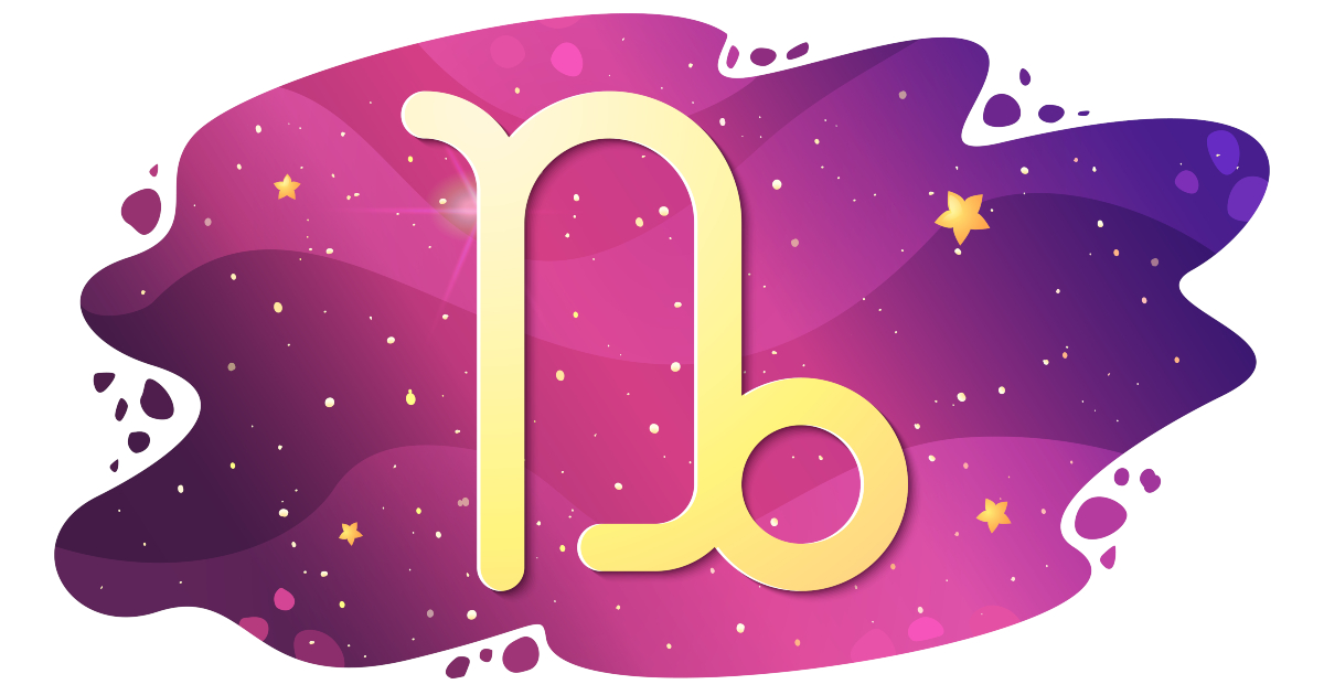 Sign of the zodiac of Capricorn, astrological horoscope, predictions for the new year, symbol on starry magic sky background. Vector illustration
