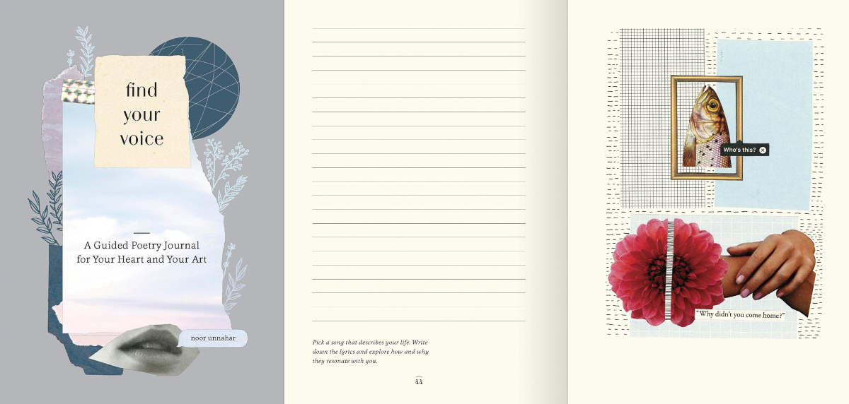 easy ways to write poetry, cover of find your voice: a guided poetry journal for your heart and your art by noor unnahar, books