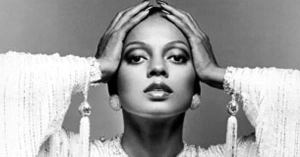 Black and white photo of Diana Ross