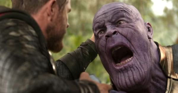 Thor holding Thanos's head at the end of 'Avengers: Infinity War'