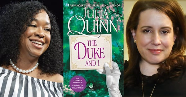 everything we know about bridgerton so far, photo of shonda rhimes, the cover of the duke and i by julia quinn, photo of julia quinn, books, tv