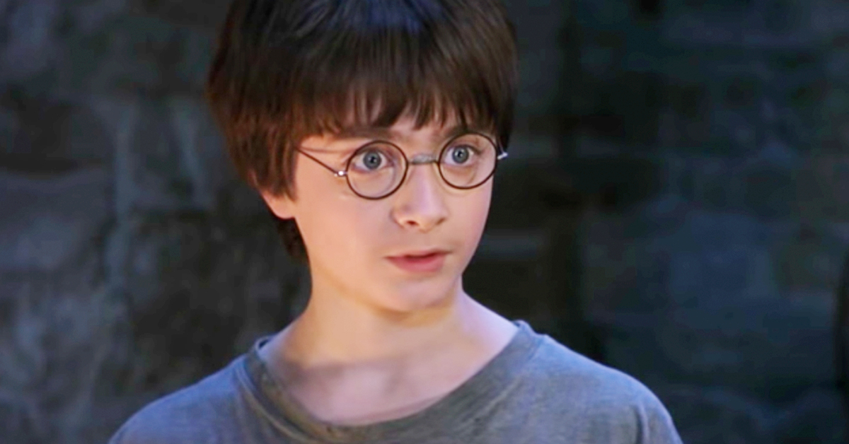 Harry Potter wearing glasses looking shocked