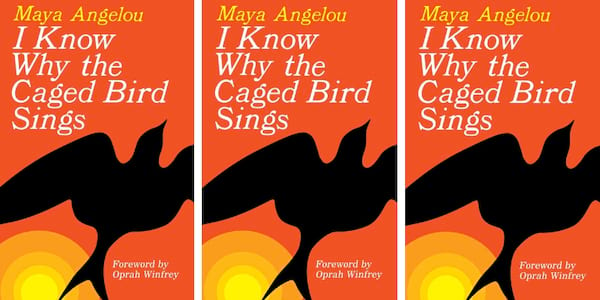 The new book cover of Maya Angelou's 'I Know Why the Caged Bird Sings' three times