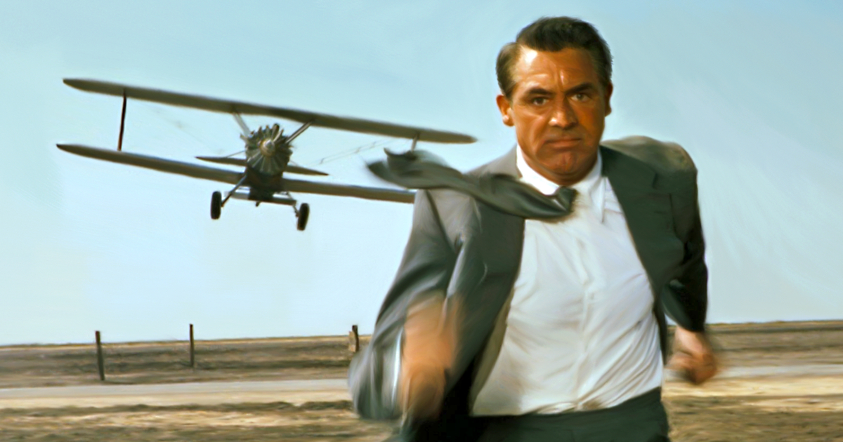 Cary Grant as Roger Thornhill trying to out run a plane in 'North by Northwest'