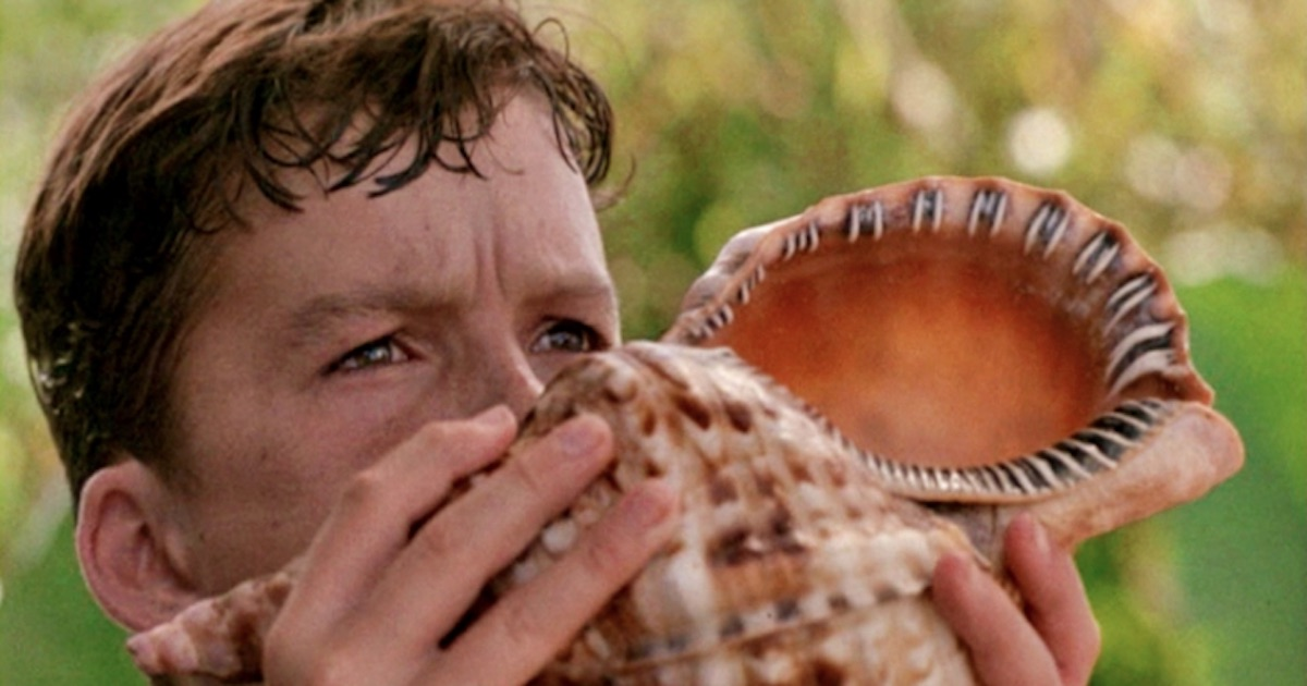 lord of the flies boy blowing into conch movie book quotes