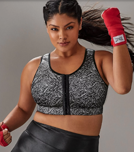 Woman wearing the High Impact Wire-Free Sports Bra from Bare Necessities
