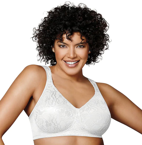 Woman wearing a white Playtex 18 Hour Ultimate Lift & Support Bra from Kohl's