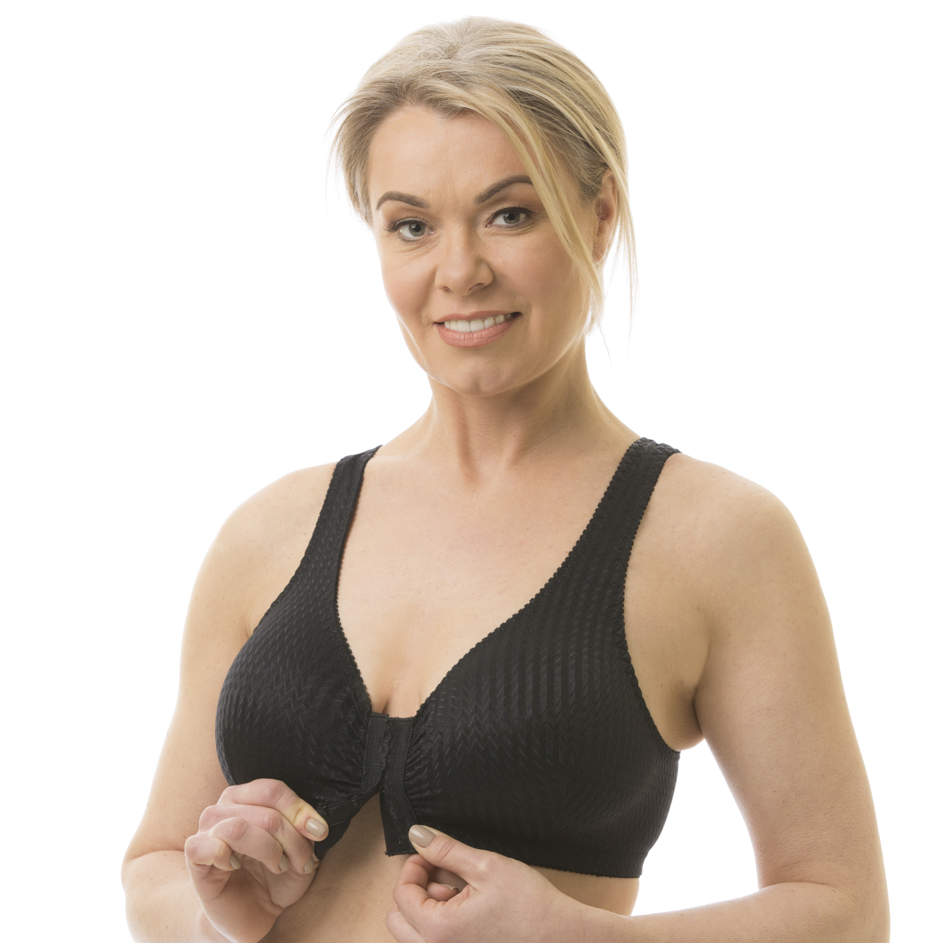 Woman modeling a Carole Martin Full-Freedom Comfort Bra in black