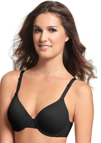 Woman modeling a black Warner's This Is Not a Bra Full-Coverage T-Shirt Bra