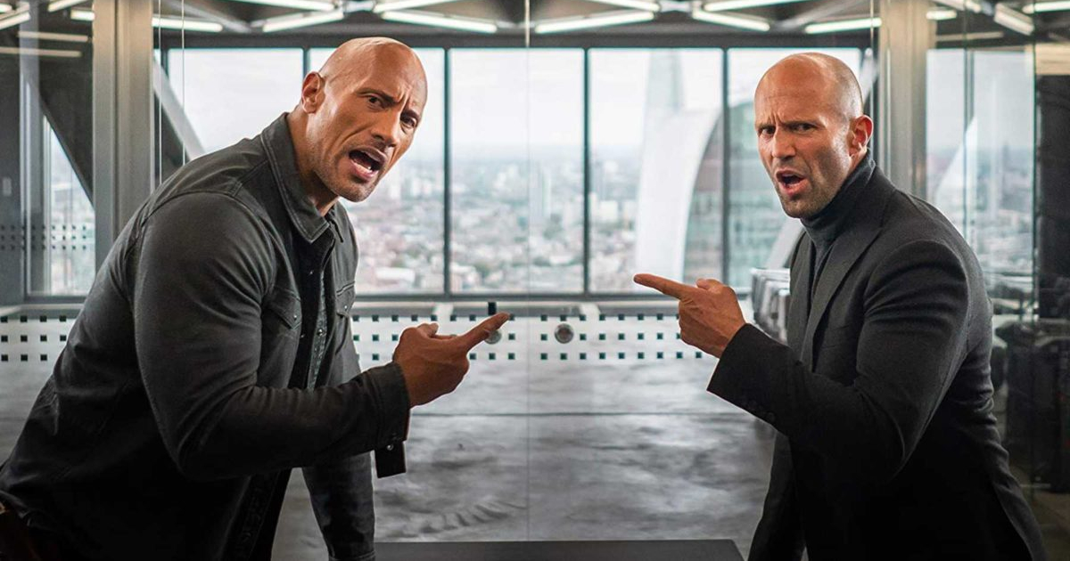 Dwayne Johnson and Jason Statham arguing in a scene from 'Hobbs & Shaw'