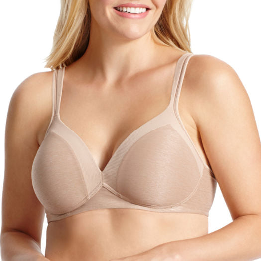 Woman modeling a nude Olga Play It Cool Wireless T-Shirt Full-Coverage Bra