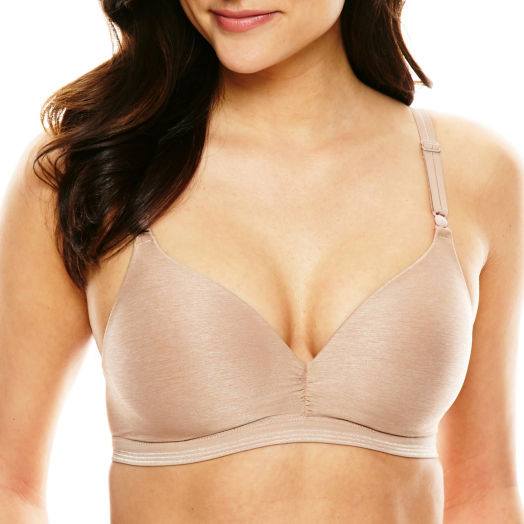 Woman modeling a nude Warner's Play It Cool Wireless With Lift Bra