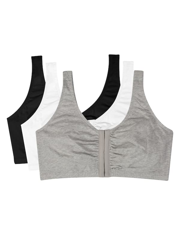 Three Fruit of the Loom front closure sports bras in black, white, and gray