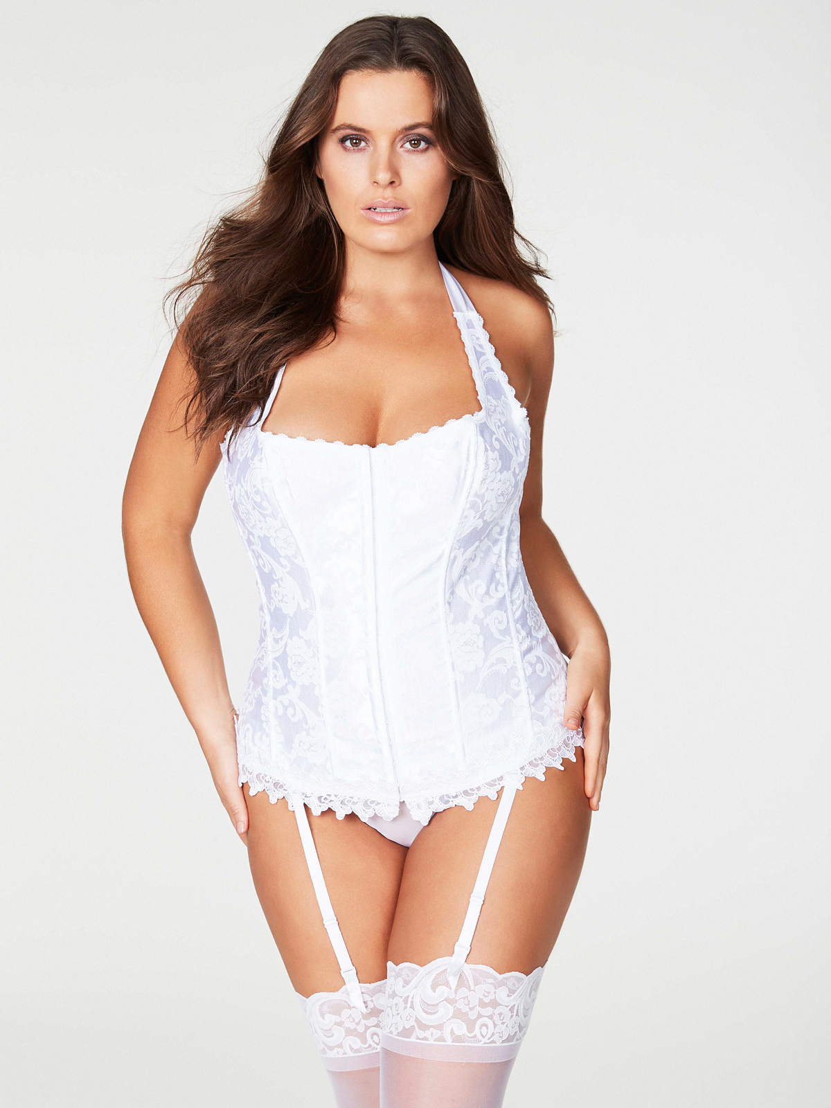 Woman modeling the Hollywood Dream Halter Bridal Corset Plus-Size from Frederick's of Hollywood