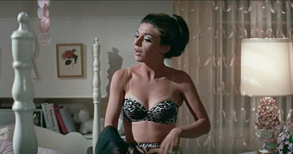 Mrs. Robinson in her lingerie in a scene from The Graduate