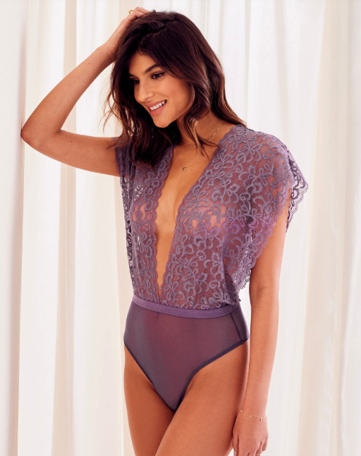 Woman wearing the Marelaine Unlined lingerie bodysuit from Adore Me