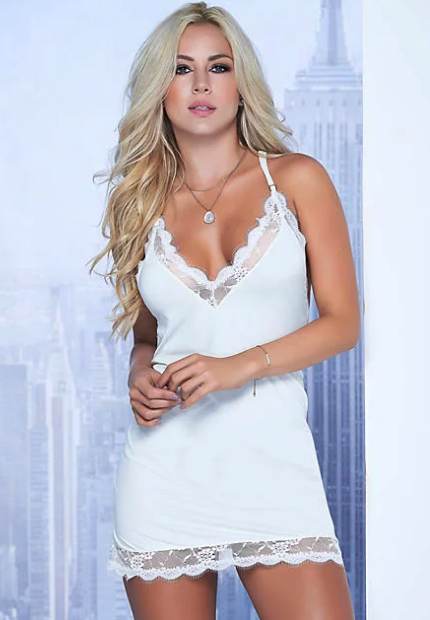 Woman wearing the Mapalé T-Back Wireless Chemise Set from Bare Necessities