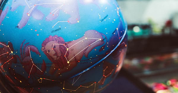 Horoscope globe with the constellations lit up
