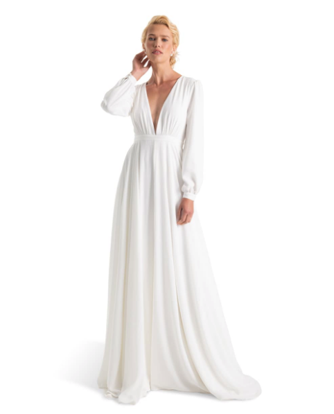 Woman wearing the Joanna August Floyd V-Neck Long Sleeve Gown from Nordstrom