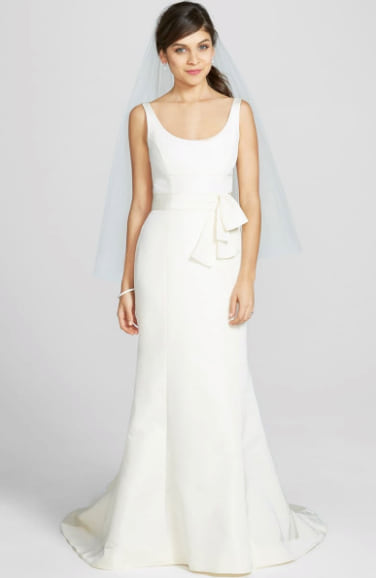 Woman wearing the 'Cate' Faille De Soie Fit & Flare Dress, main, color, IVORY 'Cate' Faille De Soie Fit & Flare Dress from Nordstrom