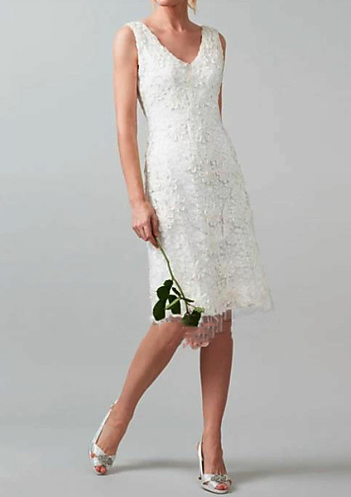 Woman wearing the Sheath / Column V Neck Knee Length Lace Made-To-Measure Wedding Dresses with Lace Insert by LAN TING Express from Light in the Box