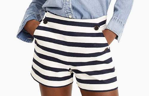 Woman wearing the Side-Button Sailor Short in Stretch Grasscloth from J. Crew