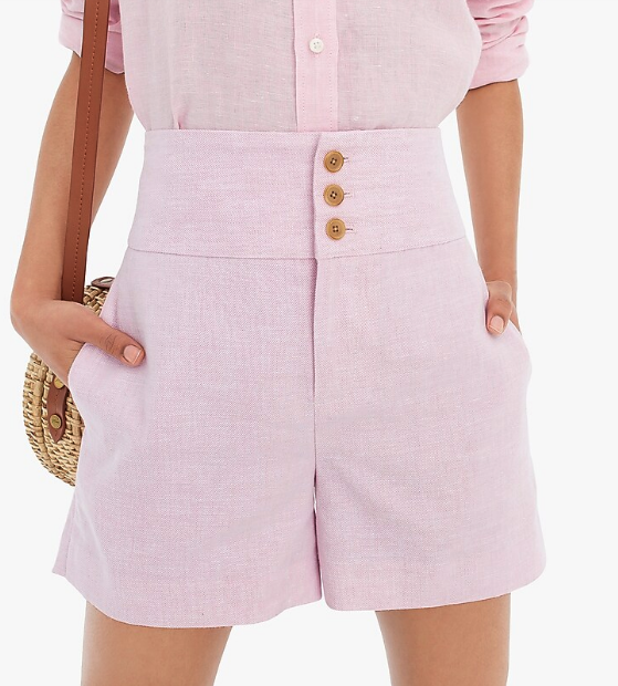 Woman wearing the High-Rise Triple-Button Stretch Linen Short from J.Crew
