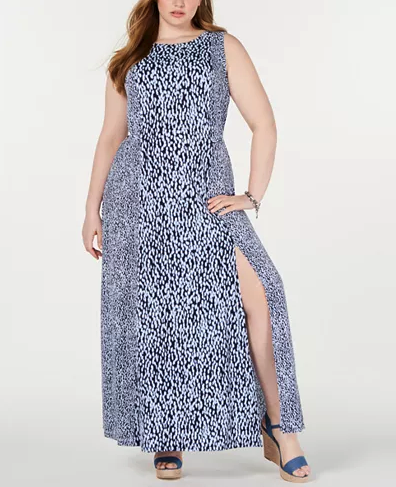 Woman wearing the Michael Kors Plus-Size Mixed-Print Maxi Dress from Macy's