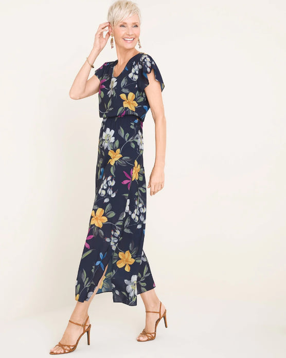 Woman wearing the Floral-Print Maxi Dress from Chico's
