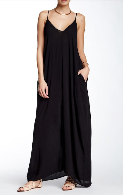 Woman wearing the Love Stitch Gauze Maxi Dress from Nordstrom Rack