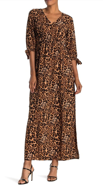 Woman wearing the Superfoxx Animal-Printed Crepe Maxi Dress from Nordstrom Rack