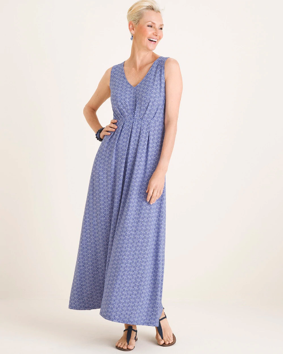 Woman wearing the Geometric-Dot Maxi Dress from Chico's