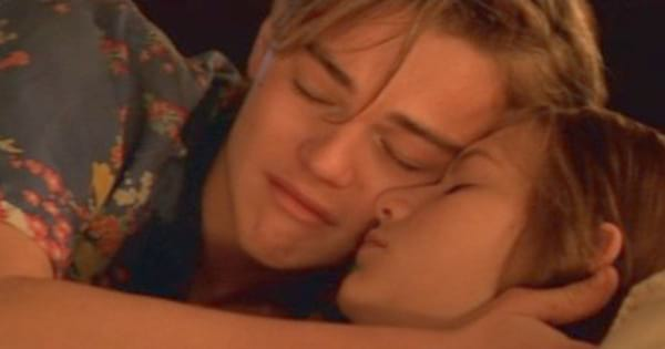 Leonardo DiCaprio as Romeo cradling Claire Danes as Juliet after he sees her dead in the church in the end of 'Romeo + Juliet'
