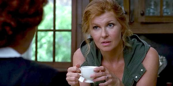 american horror story, connie britton, redhead, hero, confused, thinking, liz, drinking tea, teacup