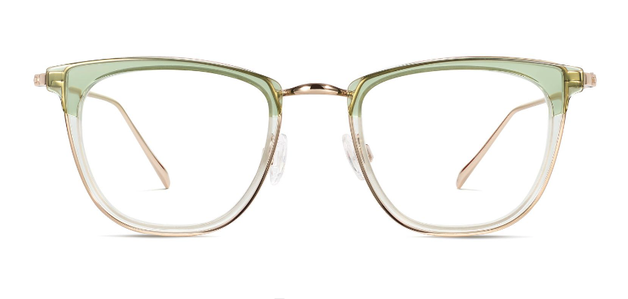 Devon glasses from Warby Parker in Layered Aloe Crystal