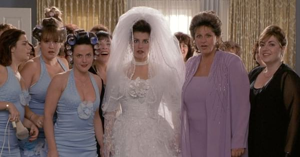 Toula on her wedding day with her mother and bridesmaids in 'My Big Fat Greek Wedding'