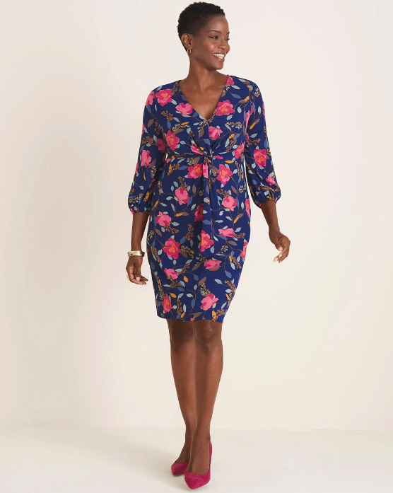 Woman wearing the Floral Twist-Front Dress from Chico's