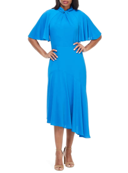 Woman wearing the Maggy London Asymmetrical Midi Dress from Nordstrom