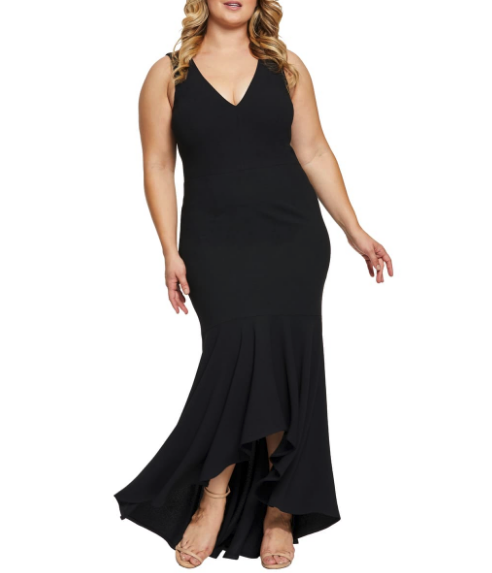 Woman wearing the Dress the Population High/Low Mermaid Hem Evening Dress from Nordstrom