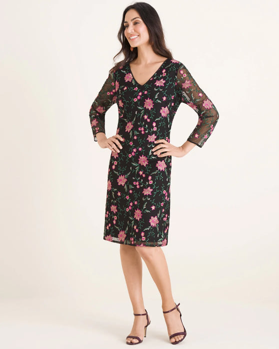 Woman wearing the Embroidered Mesh Dress from Chico's