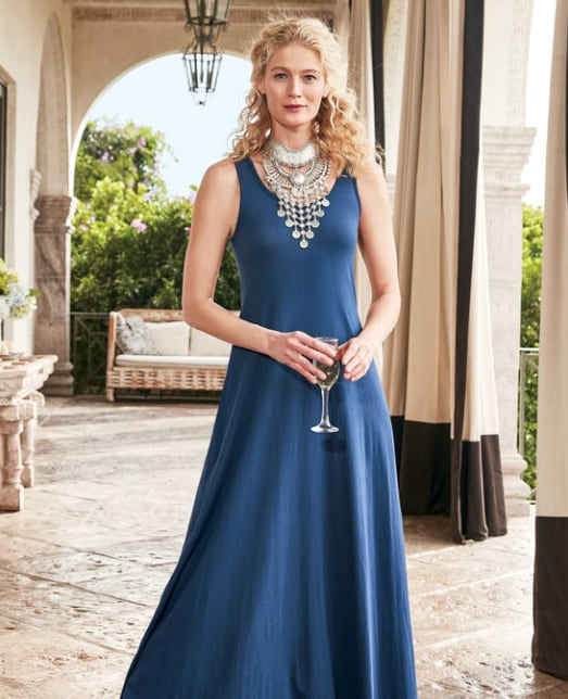 Woman wearing the Santiago Dress from Soft Surroundings in Navy