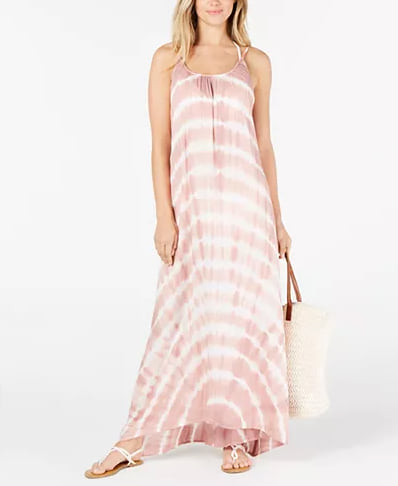 Woman wearing the Raviya Tie-Dyed Maxi Cover-Up Dress from Macy's