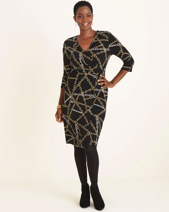 Woman wearing the Chain-Print Wrap Dress from Chico's