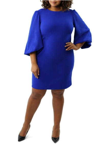 Woman wearing the Marée Pour Toi Balloon Sleeve Scuba Crepe Dress from Nordstrom