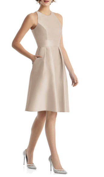 Woman wearing the Alfred Sung High-Neck Satin Cocktail Dress from Nordstrom