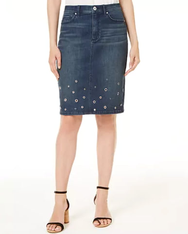 Woman wearing the I.N.C. Embellished Denim Skirt from Macy's